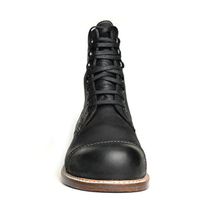 The Anatolian is made of 100% genuine leather.  This model is made of black aged leather.  Binding is made easy with a combination of lace holes and hooks.   The sole is made of first class leather which has been pounded using a knee iron using a specific technique which hardens the leather.