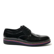 Load image into Gallery viewer, The Hipster Shoe is made of 100% patent black leather.  This Oxford shoe is one of the most popular models with fine details.  This shoe has a side stitches which gives a very stylish look.  The base part is made of rubber and thermo blended first class material.