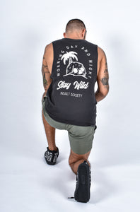 Stay Wild Sleeveless - INSALT SOCIETY Mens Surf Skate streetwear perfect birthday present mens tshirt