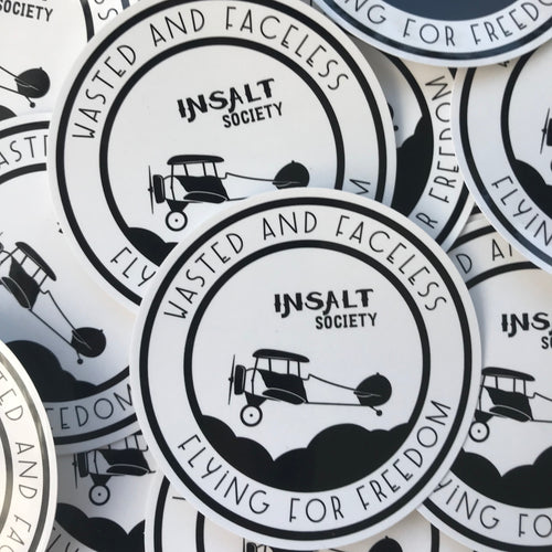 Wasted and Faceless Sticker - INSALT SOCIETY Mens Surf Skate streetwear perfect birthday present mens tshirt