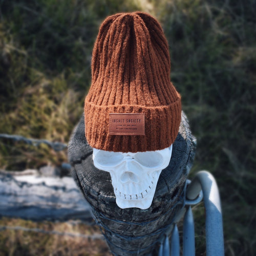 Mustard Ribbed Insalt Patch Beanie