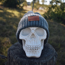 Load image into Gallery viewer, Grey Ribbed Insalt Patch Beanie