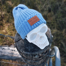 Load image into Gallery viewer, Blue Ribbed Insalt Patch Beanie