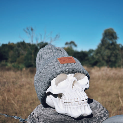 Grey Ribbed Insalt Patch Beanie