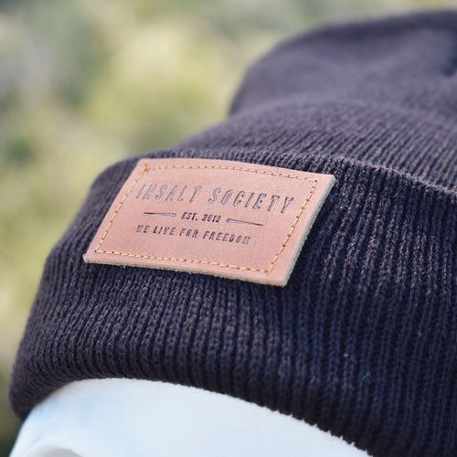 Black Insalt Patch Beanie