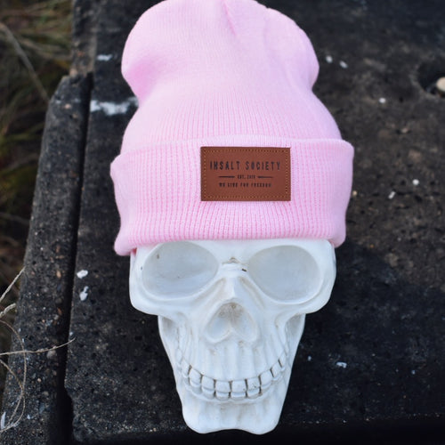 Pink Insalt Patch Beanie