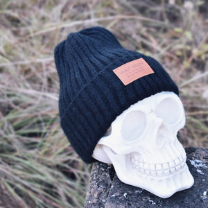 Black Ribbed Insalt Patch Beanie