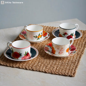 Marigold Tea Cups with Solid Colour Saucer