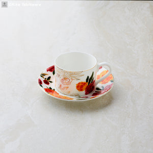 Marigold Tea Cups with Printed Saucer