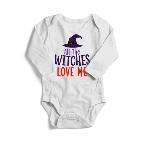 All The Witches Love Me Halloween Baby Long Sleeve