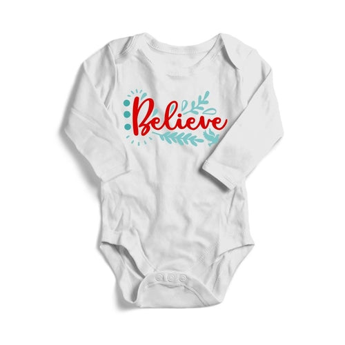 Believe Christmas Baby Long Sleeve Bodysuit