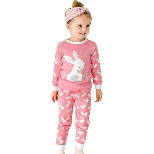 Pink & White Bunny Kids Pajamas