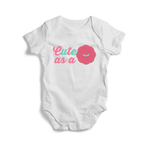Cute As a Button Baby Short Sleeve Bodysuit