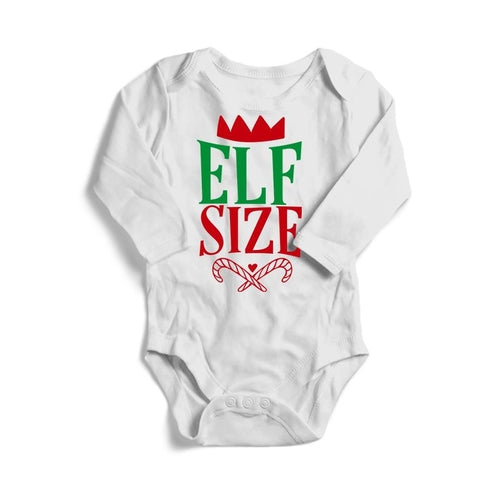 Elf Size Christmas Baby Long Sleeve Bodysuit