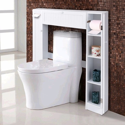 Wooden White Shelf Over The Toilet Storage