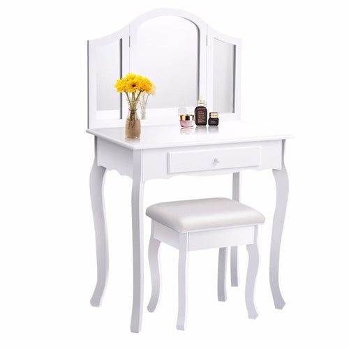 White Makeup Vanity Table and Stool Set