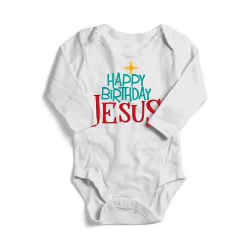 Happy Birthday Jesus Christmas Baby Long Sleeve