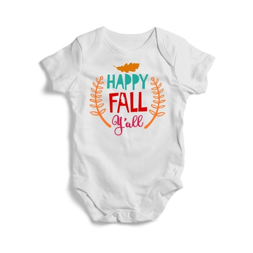 Happy-Fall-Y'all Baby Short Sleeve Bodysuit -