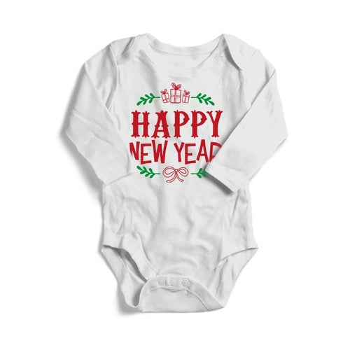 Happy New Year Christmas Baby Long Sleeve Bodysuit