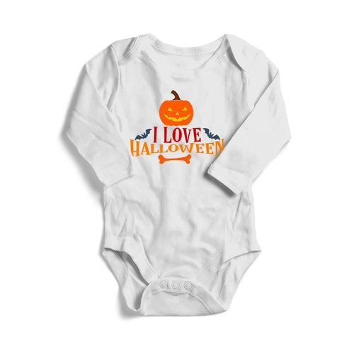 I Love Halloween Baby Long Sleeve Bodysuit
