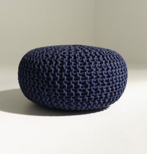 Handmade Round Knitted Pouf | Navy Blue | 80x35cm
