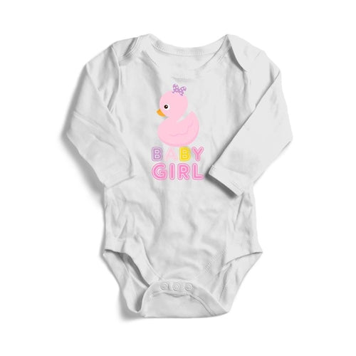 Pink Duck Baby Girl Baby Long Sleeve Bodysuit
