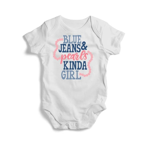 Blue Jeans and Pearls Baby Short Sleeve Bodysuit