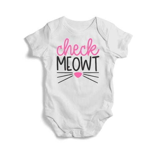 Check Meowt Baby Short Sleeve Bodysuit