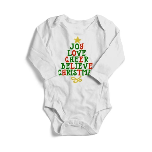 Joy Love Cheer Christmas Baby Long Sleeve Bodysuit