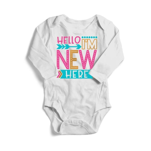 Hello I'm New Here Siblings Baby Long Sleeve