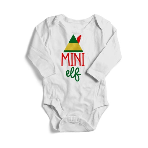 Mini Elf Christmas Baby Long Sleeve Bodysuit