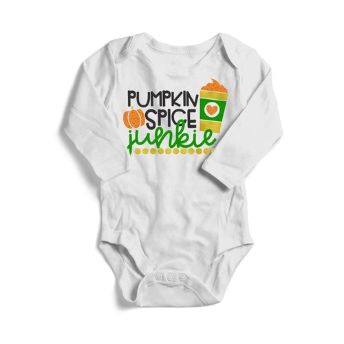 Pumpkin Spice Junkie Baby Long Sleeve Bodysuit -