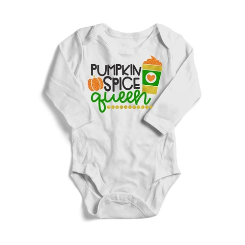 Pumpkin Spice Queen Baby Long Sleeve Bodysuit -