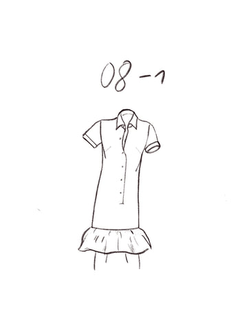 08-1 Polo dress with long button facing