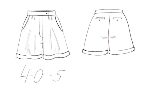 40-5 Linen pleat shorts with belt loops - technical drawing - sisterMAG sewing pattern