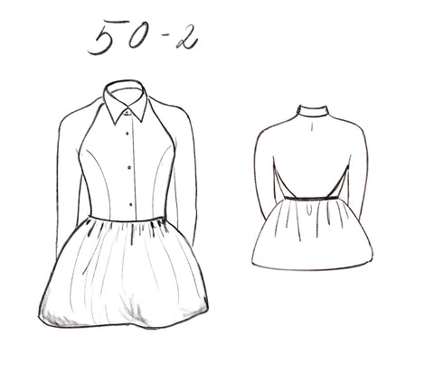 50-2 Backless collar top (***) - print-at-home sewing pattern