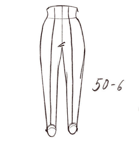 50-6 Stirrup trousers with elastic foot loops - technical drawing / sisterMAG Patterns