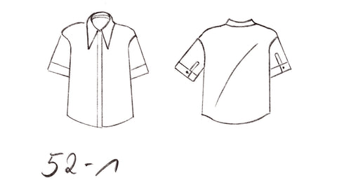 52-1 Box-cut linen blouse with pointy collar (**) – print-at-home sewing pattern
