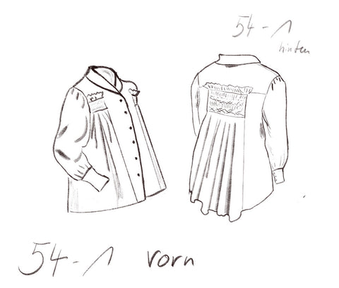 Technical drawing of DIY sewing project: Wide blouse with smock embroidery