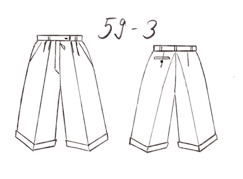 59-3 Comfy elegant pleated shorts (**) – print-at-home sewing pattern