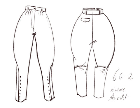 Technical drawing of breeches - DIY sewing pattern