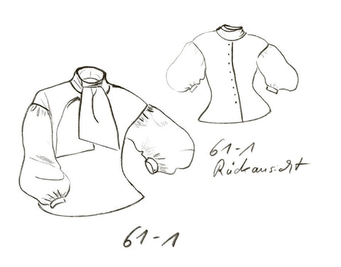 Technical drawing of blouse with bow tie and back buttons