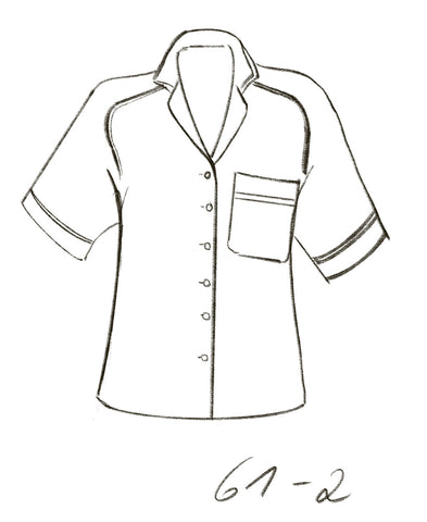 Technical drawing of DIY pattern for Raglan blouse with piping