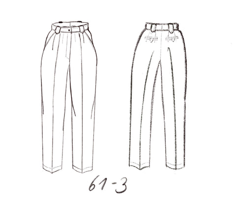 Technical drawing for very wide business pants with 2 welt pockets and pleats. DIY sewing pattern