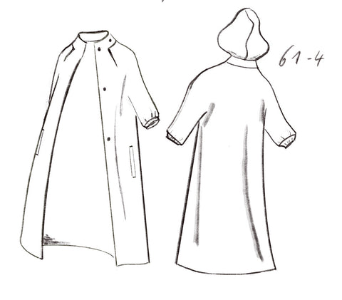 Technical drawing of hooded softshell coat with snap buttons
