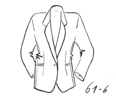 Technical drawing of oversized blazer with long lapel