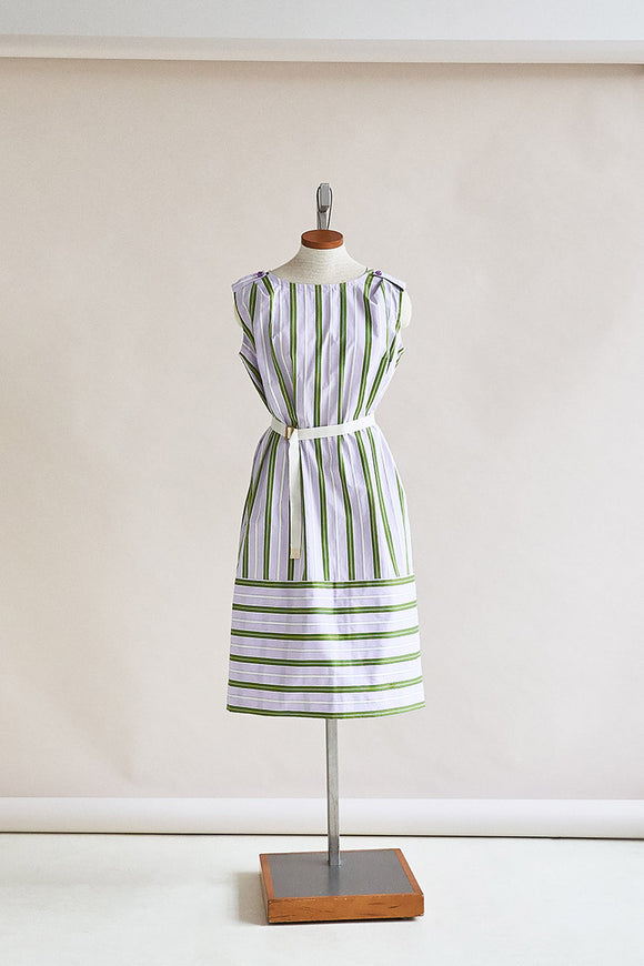 47-1 Airy striped dress with ribbon as belt (*) – print-at-home sewing pattern