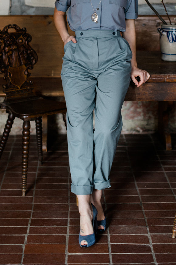 48-1 Pleated trousers with welt pockets / rolled-up trouser legs (**) – print-at-home sewing pattern
