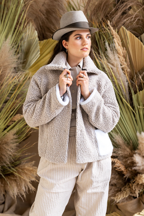 32-4 Fluffy & short teddy jacket – optionally patchworked (**/***) - print-at-home sewing pattern