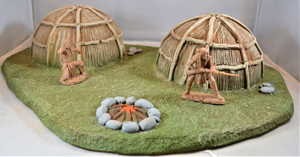Atherton Scenics Painted Native America Village Wigwam Huts Diorama Piece